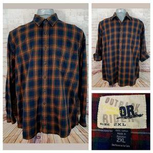 Outback Rider 2XL Blue & Rust Plaid Flannel Shirt